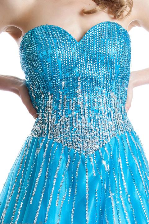 ターコイズブルーシルバースパン豪華なドレス