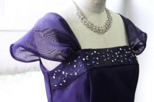 肩袖付きAラインオリジナルドレス