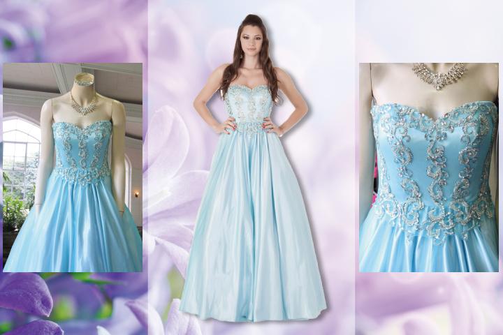 ブルースパン刺繍付きゴージャスドレス