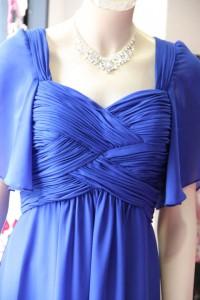 紺袖付き胸元ギャザー使いシフォンドレス
