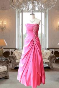 ショッキングピンクアシメタック刺繍付きドレス