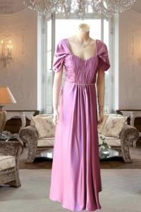 パープルギャザー使い袖付きスレンダードレス