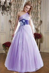 パープル配色コサージュポイントステージドレス