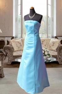 サックスブルーのサテンAラインステージドレス