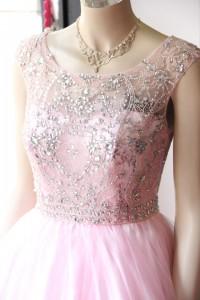 ピンク見頃ビーズ刺繍ゴージャスステージドレス