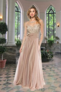ベージュ長袖豪華刺繍付きカラードレス