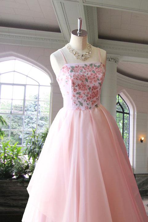 ピンク花柄プリントオリジナルステージドレス