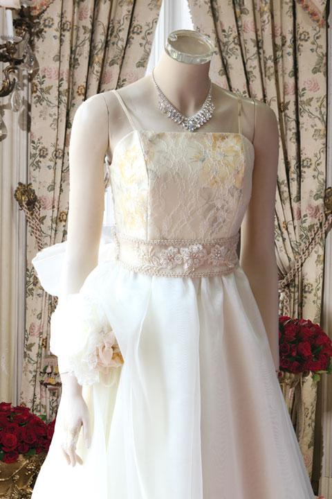 ベージュ部分花柄プリント素材のオリジナルステージドレス