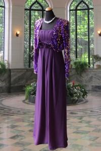 エンジパープルシフォンハイウェストステージドレス