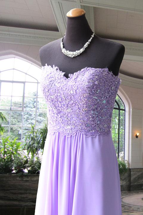 パープル見頃レース刺繍のシフォンステージドレス