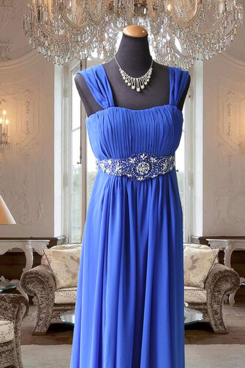 ブルー肩ギャザー袖ウェスト刺繍付ステージドレス