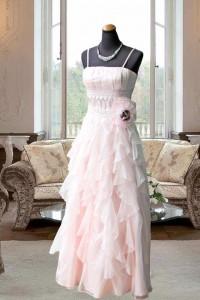 ピンクスカートフリル使い見頃タックのステージドレス