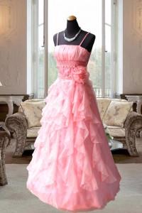 サーモンピンク胸元タックとスカートフリルのステージドレス
