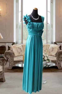 グリーンニット胸元ドレープギャザーのステージドレス