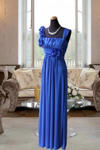 ブルーハイウェスト胸元ギャザースレンダードレス