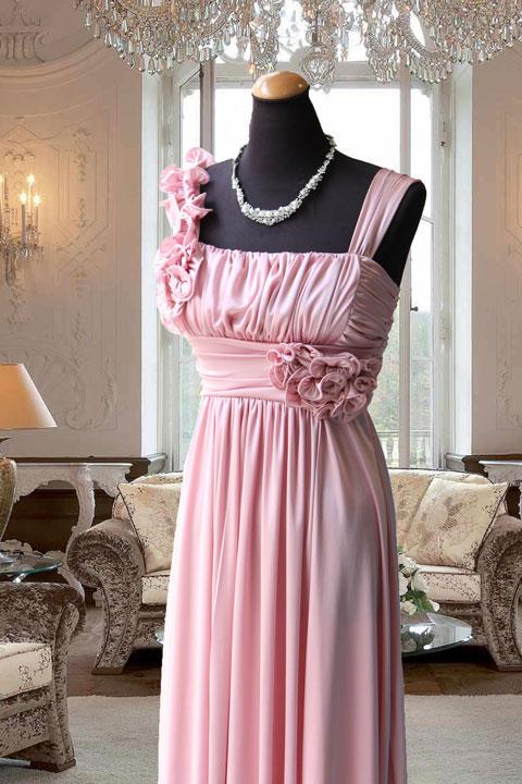 ピンクハイウェスト胸元ギャザースレンダードレス
