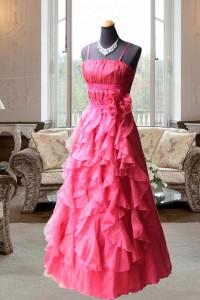 エンジ胸元レーススカートふわふわフリルのステージドレス