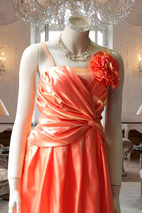 オレンジタフタのドレープデザインステージドレス