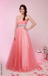 ピンクウェストビーズ刺繍ゴージャスドレス