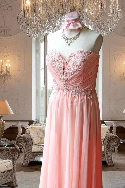 サーモンピンク見頃ビーズ刺繍入りシフォンステージドレス