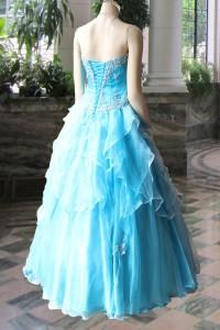 ブルー花柄プリントベルハウスオリジナルドレス