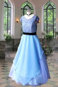 No.12302 ブルーコードレース素材の刺繍付きオリジナルドレス