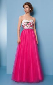 No.18271 白ピンク花柄刺繍ステージドレス