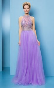 No.18301 パープルホルターネックのステージドレス
