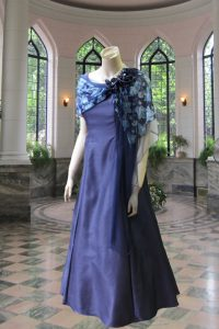 No.19597 紺タフタ前開きケープ付きステージドレス
