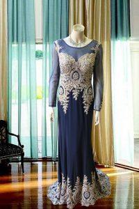 No.19823 紺の刺繍豪華なステージドレス