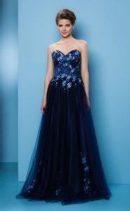 紺チュール刺繍が豪華なステージドレス