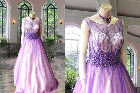 パープル刺繍ドレス