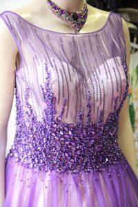 パープル豪華ダイヤストーン刺繍のステージドレス
